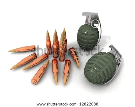 some bullets and hand grenades on a white background