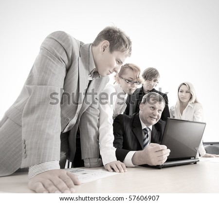 Some business people at work over blue background