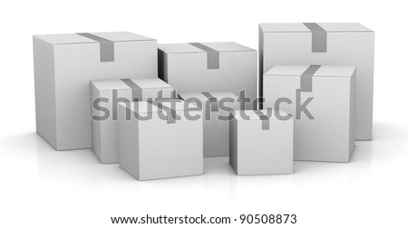 some carton boxes in different sizes (3d render)