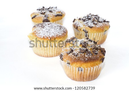 Some chocolate muffins isoled in white background