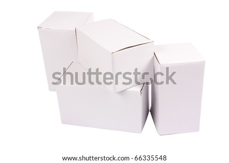 Some closed cardboard cartons isolated on white background