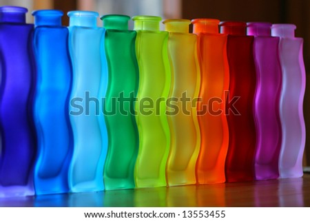 some colourful vases on the table, pattern