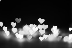 Some Defocused Heart Bokeh background and wallpaper in black and White tone