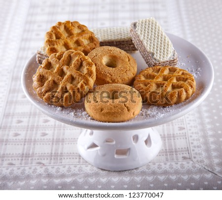 Some different kind of biscuits over a white upstand