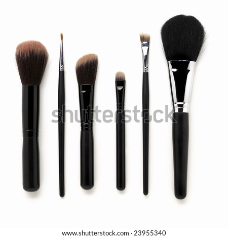 Some different kind of make-up brushes isolated on white