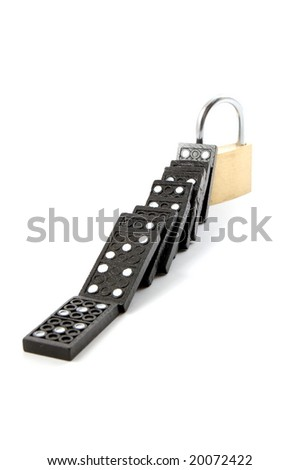 some dominoes and a padlock for security isolated on white background
