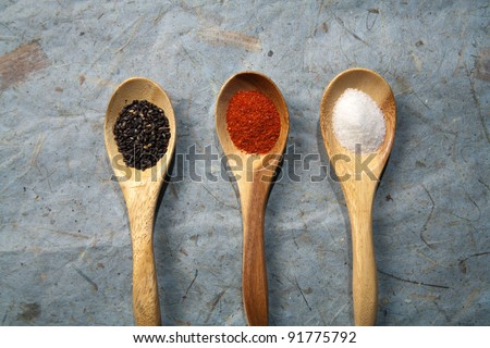 Some dried spices on spoons.