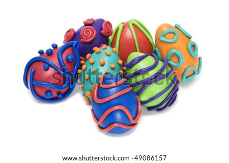 some easter eggs of different colors isolated on a white background