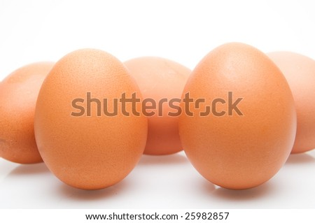 Some eggs on white background