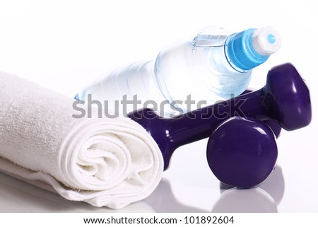 Some fitness items on white background