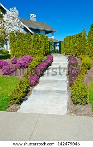 Some flowers and nicely trimmed bushes aside the doorway steps. Landscape design.