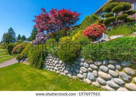 Some flowers and nicely trimmed bushes on the leveled and stoned front yard. Landscape design.