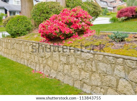 Some flowers and nicely trimmed bushes on the leveled front yard. Landscape design.