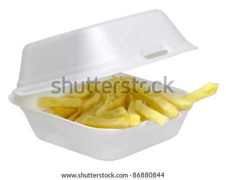 some french fries in a open white plastic box isolated on white