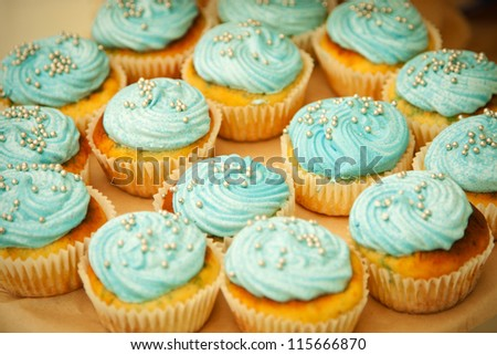 some fresh blue cupcakes on the table