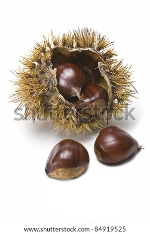 Some fresh chestnuts isolated over a white background. - stock photo