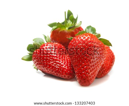 Some fresh strawberry isolated on white background