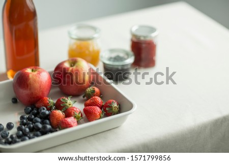 Some fruit and some jam