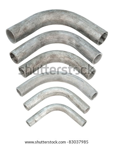 some galvanized iron pipe bends, isolated over white - stock photo