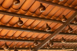 Some gourds hanging from the ceiling of a house in northeastern Brazil