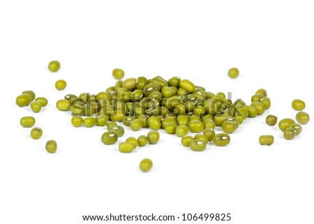 Some green mung beans  isolated on the white background