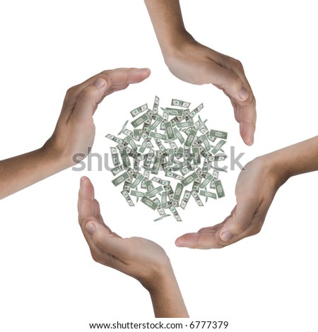 Some hands protecting a lot of dollars