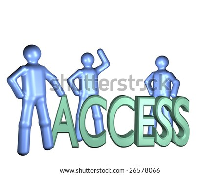 Some illustrated persons standing aorund the word access.