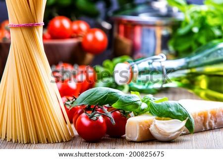 Some ingredients of Italian cuisine.Italian cuisine.