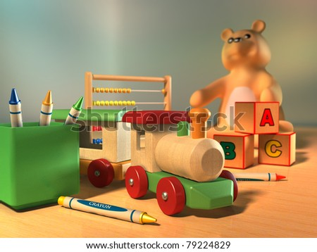 Some kid's toys on a wooden surface. Digital illustration.