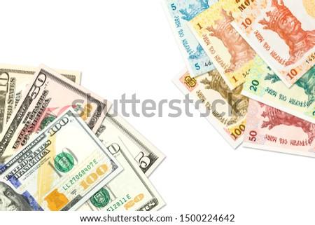some moldovan leu banknotes and american dollar banknotes indicating bilateral economic relations #1500224642