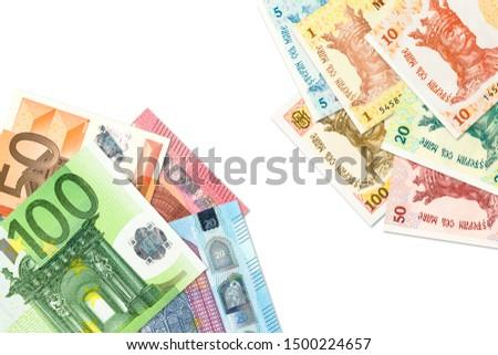 some moldovan leu banknotes and euro banknotes indicating bilateral economic relations #1500224657