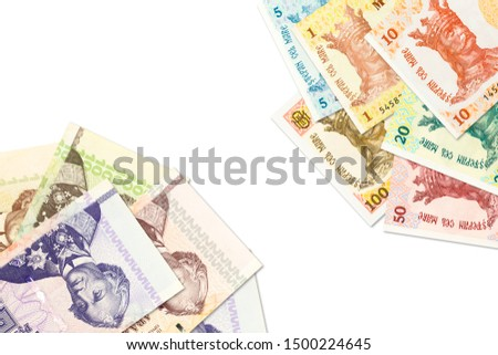 some moldovan leu banknotes and transnistrian ruble banknotes indicating bilateral economic relations #1500224645