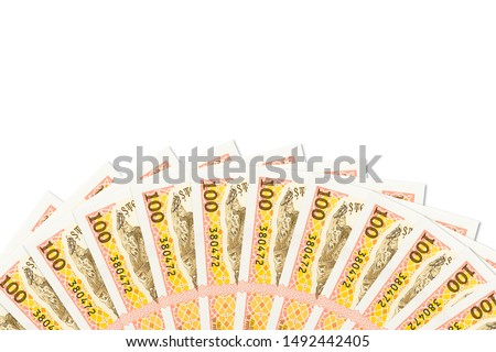 some moldovan 500 leu banknotes indicating growing economics with copyspace above #1492442405