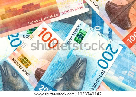 some new 100 and 200 norwegian krone bank note obverse #1033740142