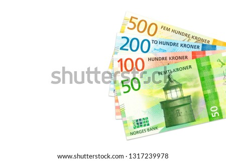 some new norwegian krone bank notes with copy space #1317239978