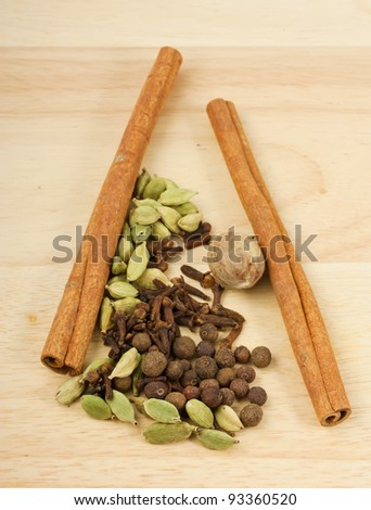 Some of spices on wooden background