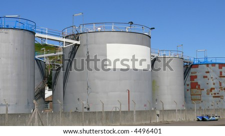 Some of the storage tanks at a fuel storage depot.