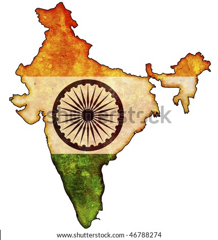 some old vintage map with flag of india