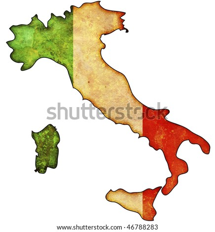 some old vintage map with flag of italy