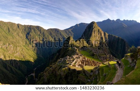 Some panoramas of the Machu Picchu at sunrise
