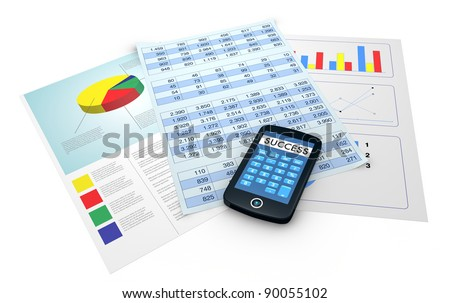 some paper documents with financial data and a portable device with a calculator app and the word success instead of numbers (3d render)