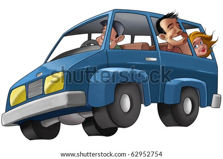 some people in a car in a vacancy trip