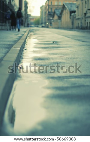 some people take a walk on street - stock photo