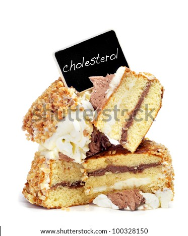 some pieces of cake on a white background with the word cholesterol written in a black label