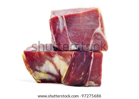 some pieces of spanish serrano ham