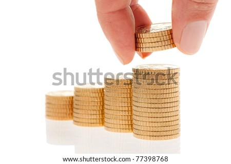 Some piles of coins on white background ?