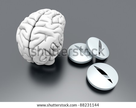 Some pills for the Brain. Symbolic for Drugs, Psychopharmaceutica ls, Nootropics and other Medications. 3d rendered Illustration. - stock photo