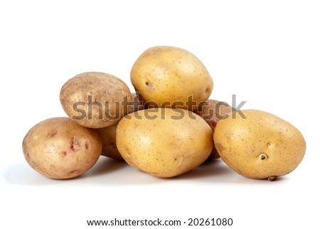 Some potatoes isolated on the white background