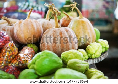 Some pumpkin with some Chayote in the traditional morning market