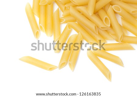 Some raw penne macaroni isolated on white background